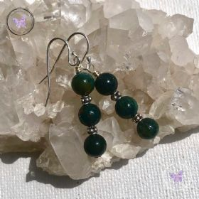 Bloodstone Triple Bead Earrings